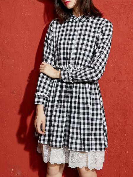 A-line Long Sleeve Spandex Gingham Midi Dress