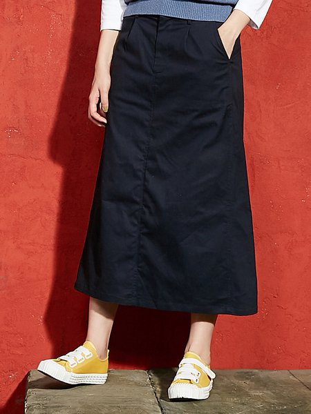 Navy Blue Canvas Casual Cotton Solid Midi Skirt