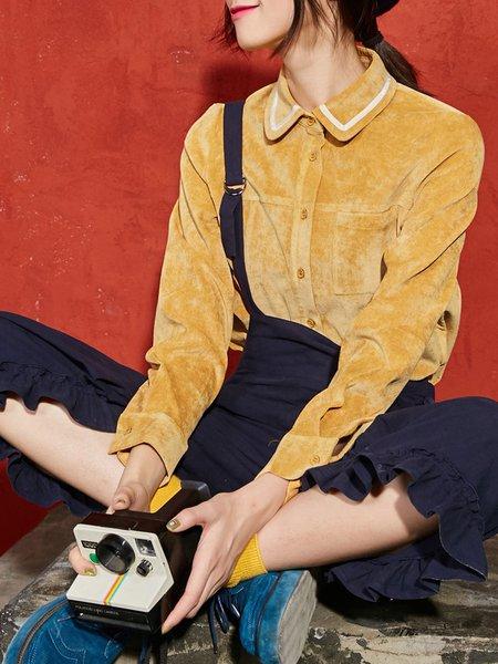 Casual Pockets Long Sleeve Solid Shirt Collar Blouse