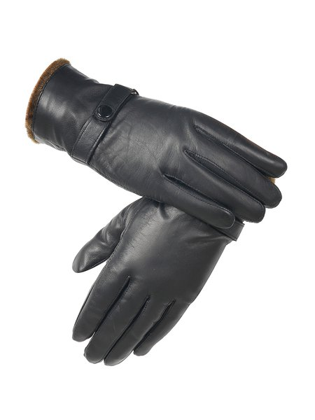 Lamb Skin Black Solid Buttoned Casual Gloves