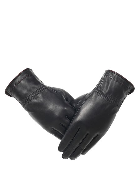 Black Solid Leather Binding Gloves