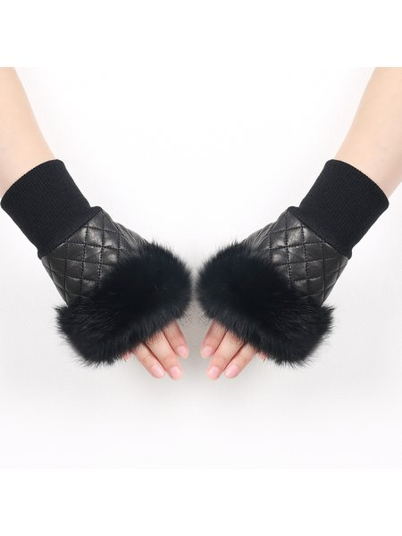 Black Casual Leather Angora Paneled Plain Fingerless Gloves