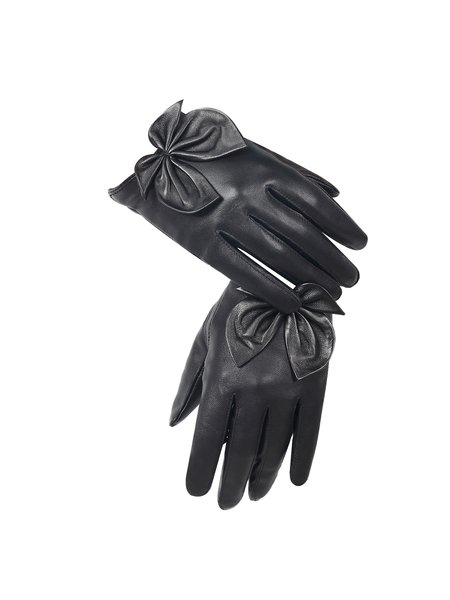 Casual Bow Leather Solid Gloves