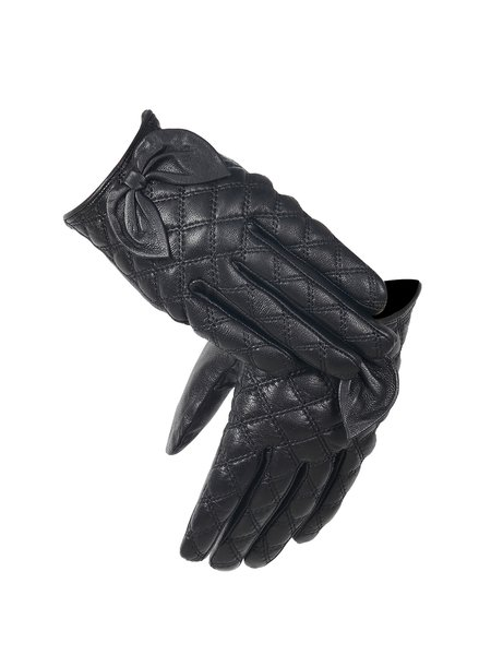 Casual Ribbed Bow Plain Leather Gloves