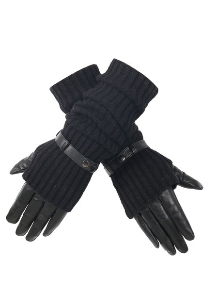 Lamb Skin Two Piece Knitted Black Casual Plain Gloves