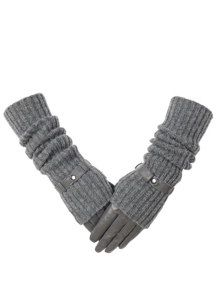 Two Piece Gray Casual Plain Knitted Leather Gloves