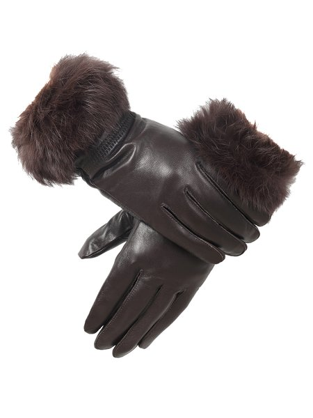 Leather Angora Solid Casual Gloves