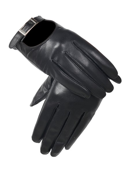 Casual Lamb Skin Solid Cutout Gloves