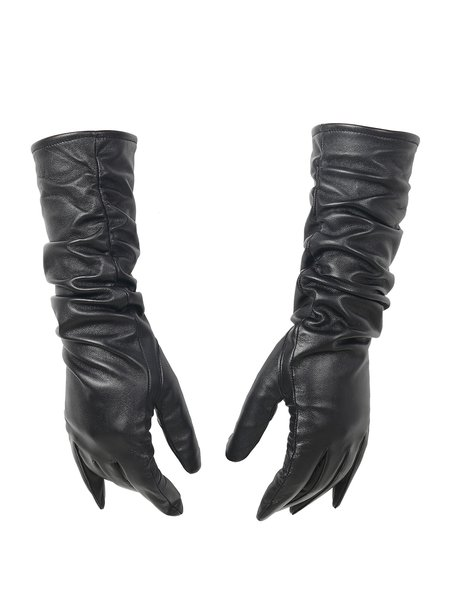 Black Casual Solid Lamb Skin Ruched Gloves
