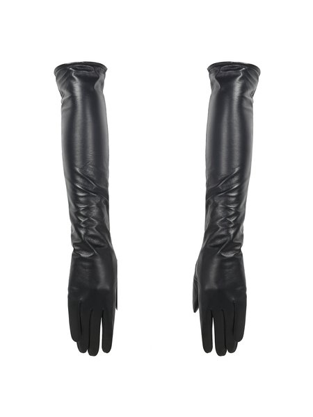 Black Solid Leather Casual Long Gloves