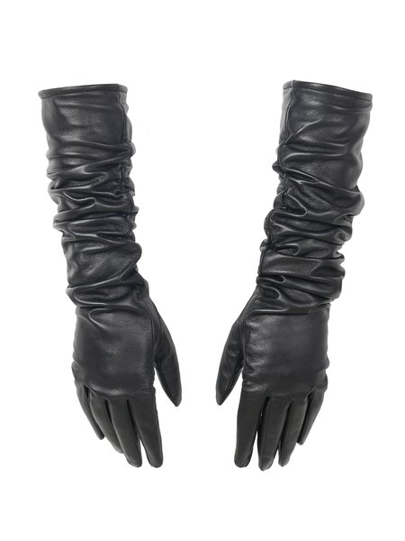 Black Leather Ruched Solid Gloves