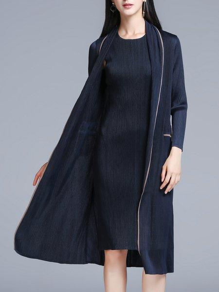 Blue Long Sleeve Pleated Coat