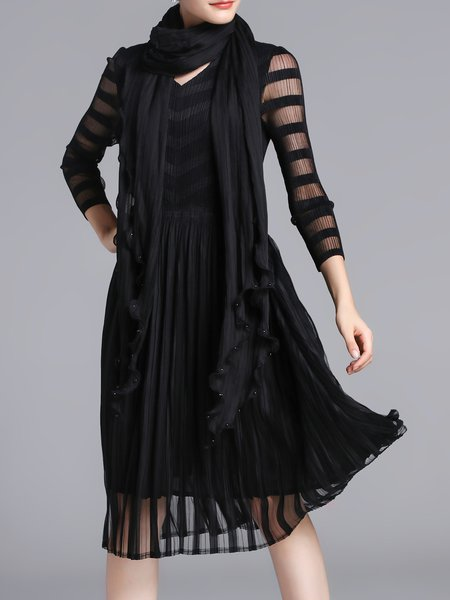 Long Sleeve A-line Casual See-through Look Midi Dress