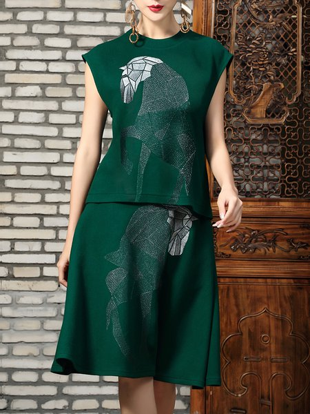 Green Two Piece Sleeveless Horse Embroidered Crew Neck Midi Dress