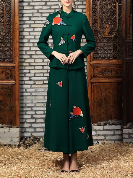Green Two Piece Vintage Embroidered Wide Leg Pants Jumpsuit