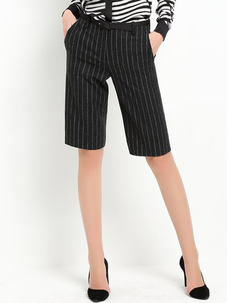 Deep Gray Casual Pockets Stripes Cropped Pants