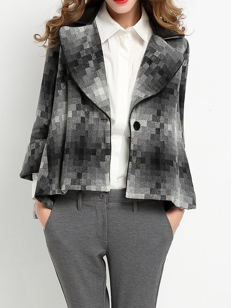 Gray High Low Casual Blazer