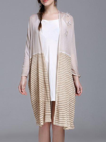 Apricot Appliqued H-line Long Sleeve Coat