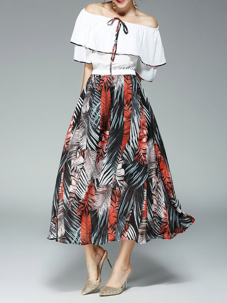 Printed Casual Shorts Sleeve Off Shoulder A-line Maxi Dress