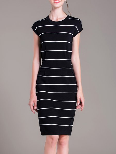 Black Stripes Polyester Elegant Ruched Midi Dress