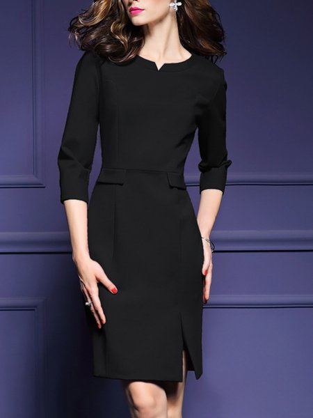 3/4 Sleeve Sheath Elegant Midi Dress