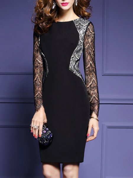 Black Bodycon  Elegant Crew Neck Midi Dress