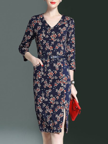 Multicolor Floral 3/4 Sleeve Slit Midi Dress