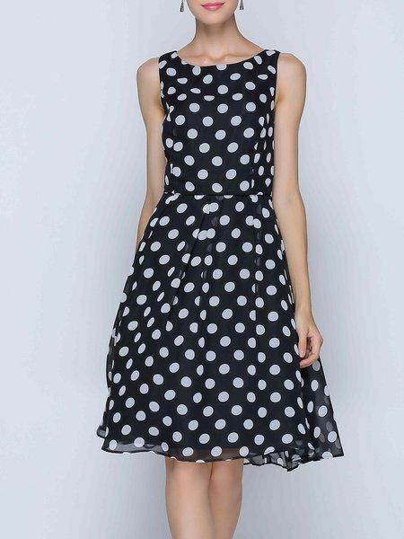 Black A-line Sleeveless Polka Dots Midi Dress