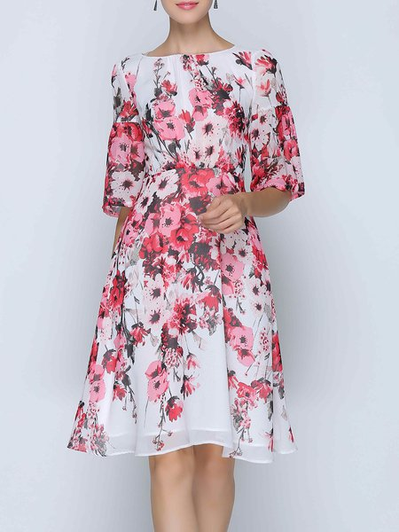 Frill Sleeve Chiffon Floral-print Casual Midi Dress