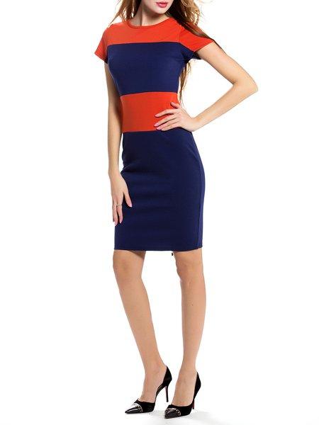 Elegant Short Sleeve Color-block Sheath Midi Dress
