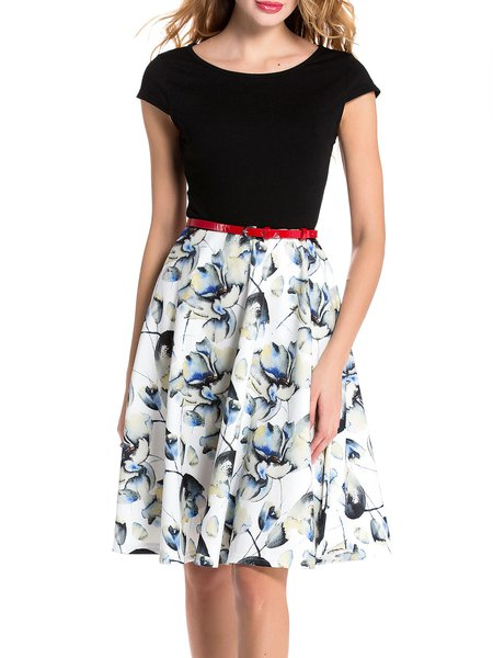 Black A-line Paneled Floral Casual Midi Dress