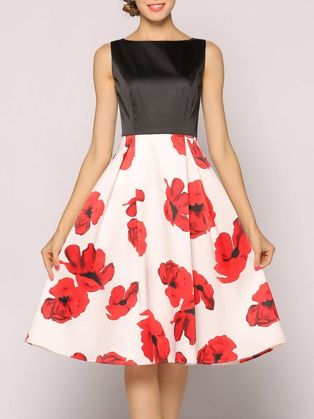 Folds Elegant Sleeveless Floral Midi Dress