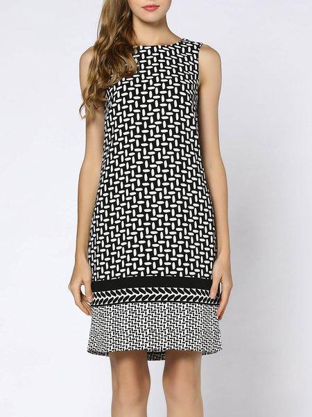 Black Geometric Crew Neck Sleeveless Midi Dress