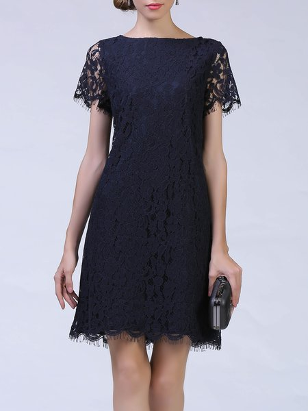 A-line Short Sleeve Guipure Lace Midi Dress