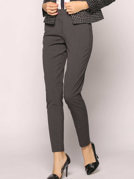 Solid Casual H-line Pockets Straight Leg Pants