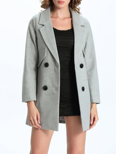 Light Gray Symmetric Long Sleeve Solid Cotton-blend Coat