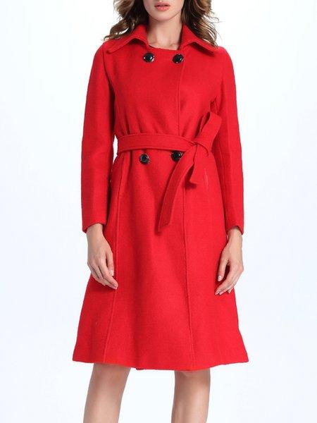 Red Paneled Long Sleeve Shirt Collar Coat