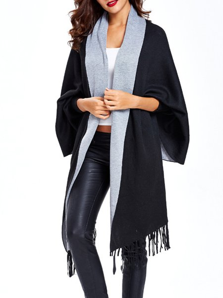 Fringed Casual Solid Batwing Knitted Cardigan