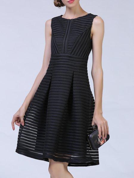 Simple  A-line Sleeveless Midi Dress