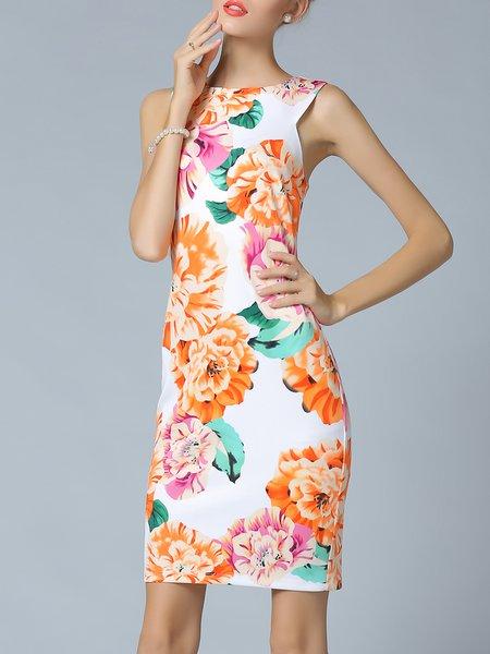 Girly Cotton-blend Floral Sleeveless Midi Dress