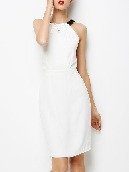 White Elegant Halter Midi Dress