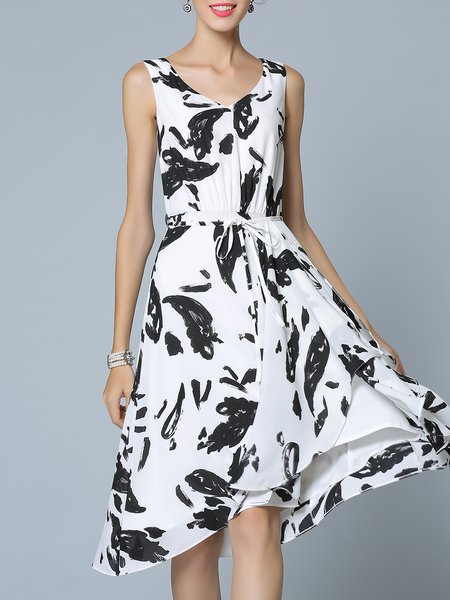 Black-white Printed Abstract Casual Midi Dress