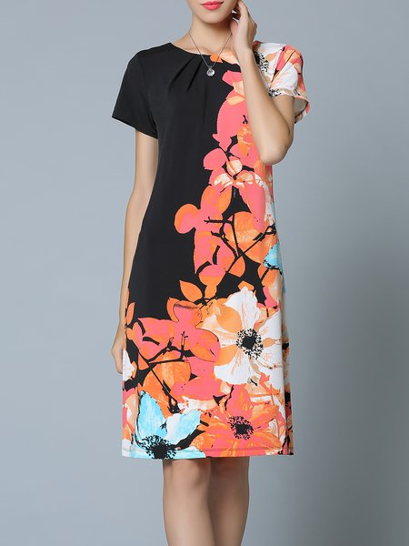 Black Casual Sheath Polyester Midi Dress