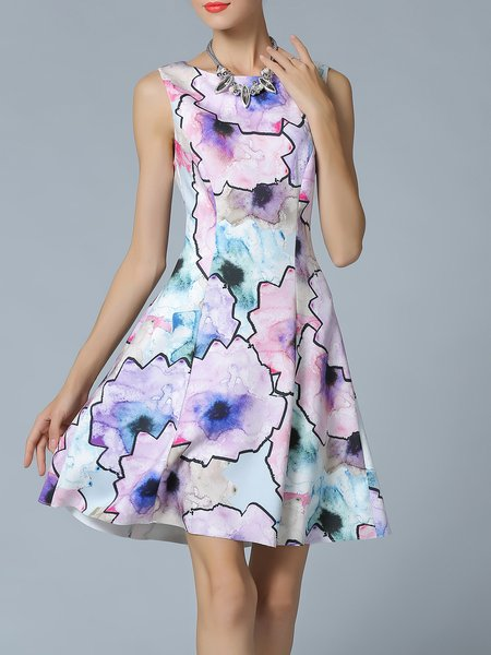 Multicolor Abstract Printed Casual A-line Midi Dress
