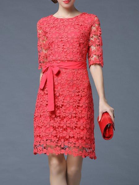 Half Sleeve Pierced Floral Lace Elegant Midi Dress