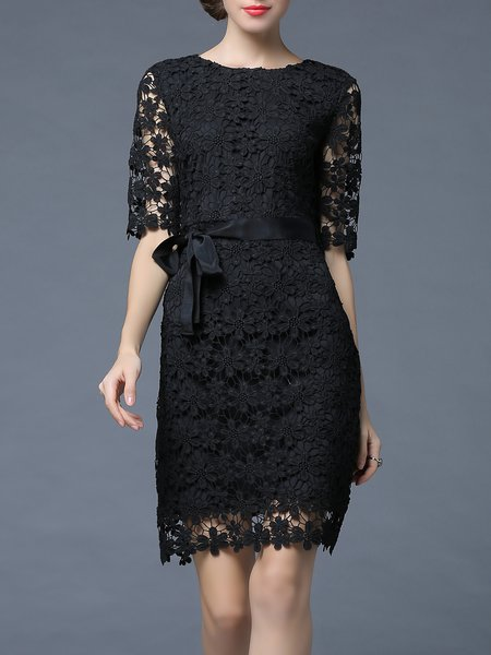 Black Lace Half Sleeve Pierced Floral Midi Dress