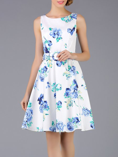 White Sleeveless Floral-print Cotton Floral Midi Dress