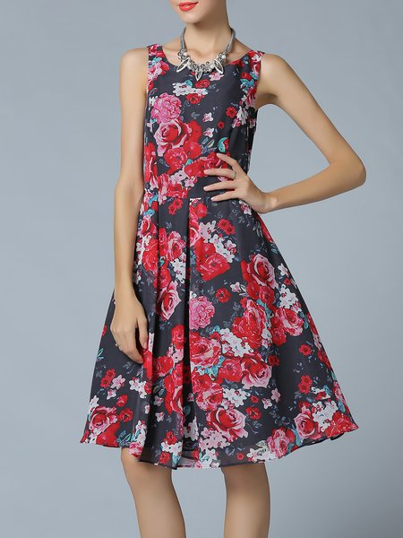 Red A-line Floral Sleeveless Midi Dress