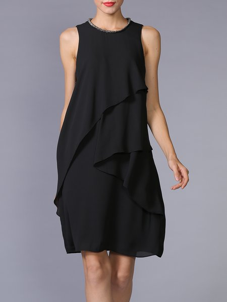 Black Casual Ruffled A-line Midi Dress