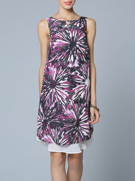 Purple H-line Sleeveless Printed Midi Dress